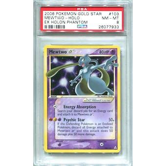 Pokemon EX Holon Phantoms Mewtwo * Gold Star 103/110  PSA 8