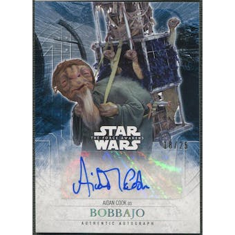 2016 Star Wars The Force Awakens Series Two Aidan Cook as Bobbajo Foil Auto #18/25