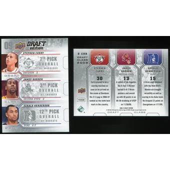 2009/10 Upper Deck Draft Edition Draft Class #DCHH Gerald Henderson James Harden Stephen Curry