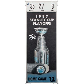 Wayne Gretzky Autographed 87 Stanley Cup Finals Mega Ticket Edmonton Oilers UDA COA