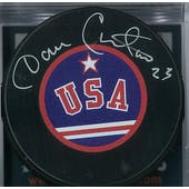 Dave Christian Autographed USA Hockey Puck Miracle on Ice (DACW COA)