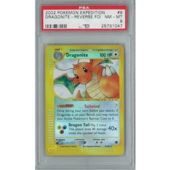 Pokemon Expedition Dragonite 9/165 Reverse foil Single PSA 8