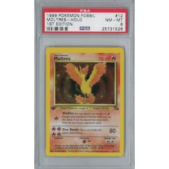 Pokemon Fossil 1st Edition Moltres 12/62 PSA 8