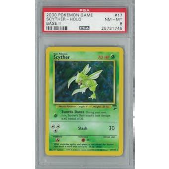 Pokemon Base Set 2 Scyther 17/130 PSA 8