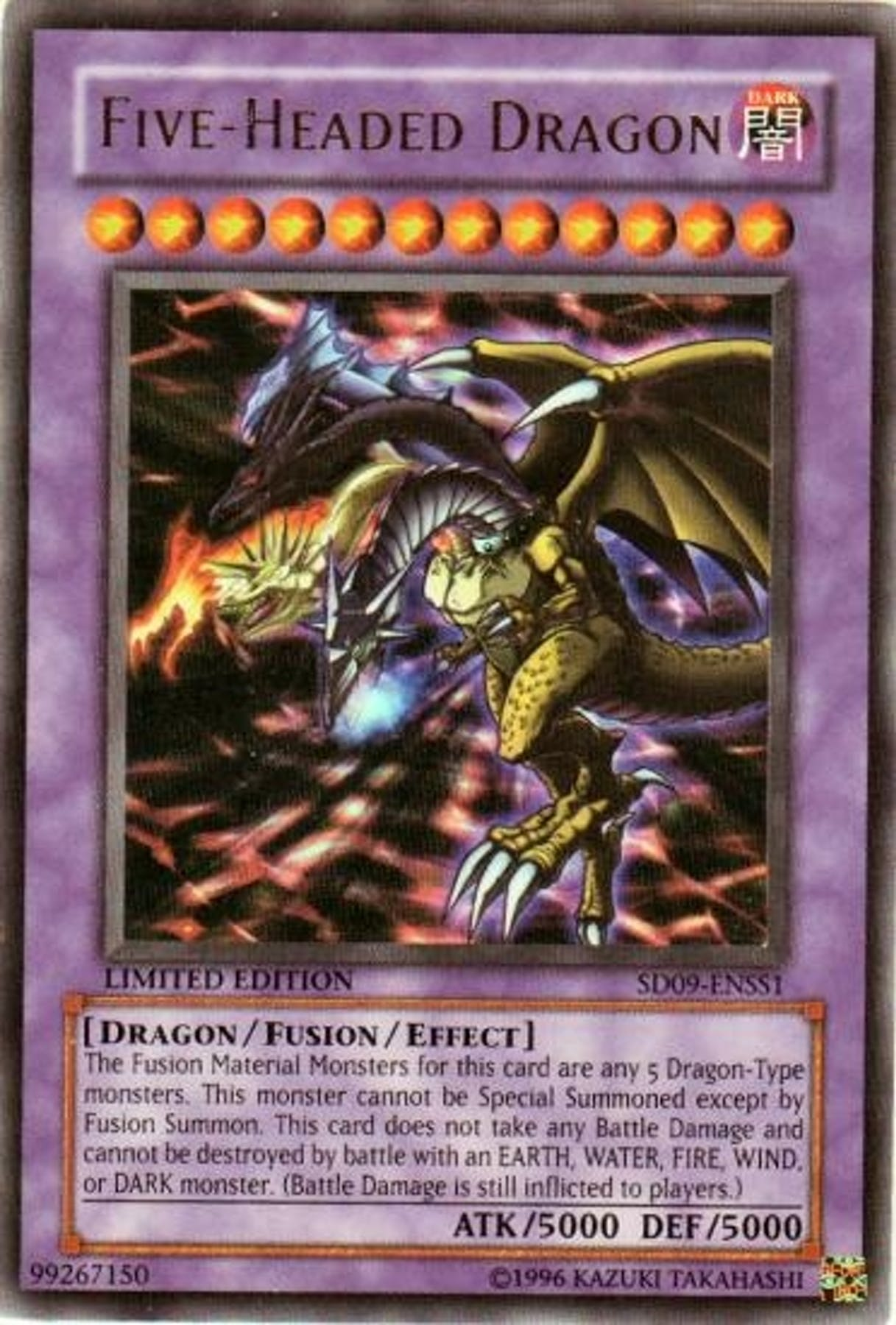 Yu-Gi-Oh SD Dinosaur's Rage Single Five Headed Dragon ... - photo#4