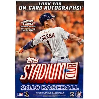 2016 Topps Stadium Club Baseball 8-Pack Blaster Box