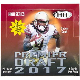 2017 Sage Hit Premier Draft High Football Hobby Box