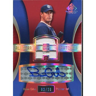 2004 SP Game Used Patch All-Star Autograph #BG Brian Giles 2/10 Padres