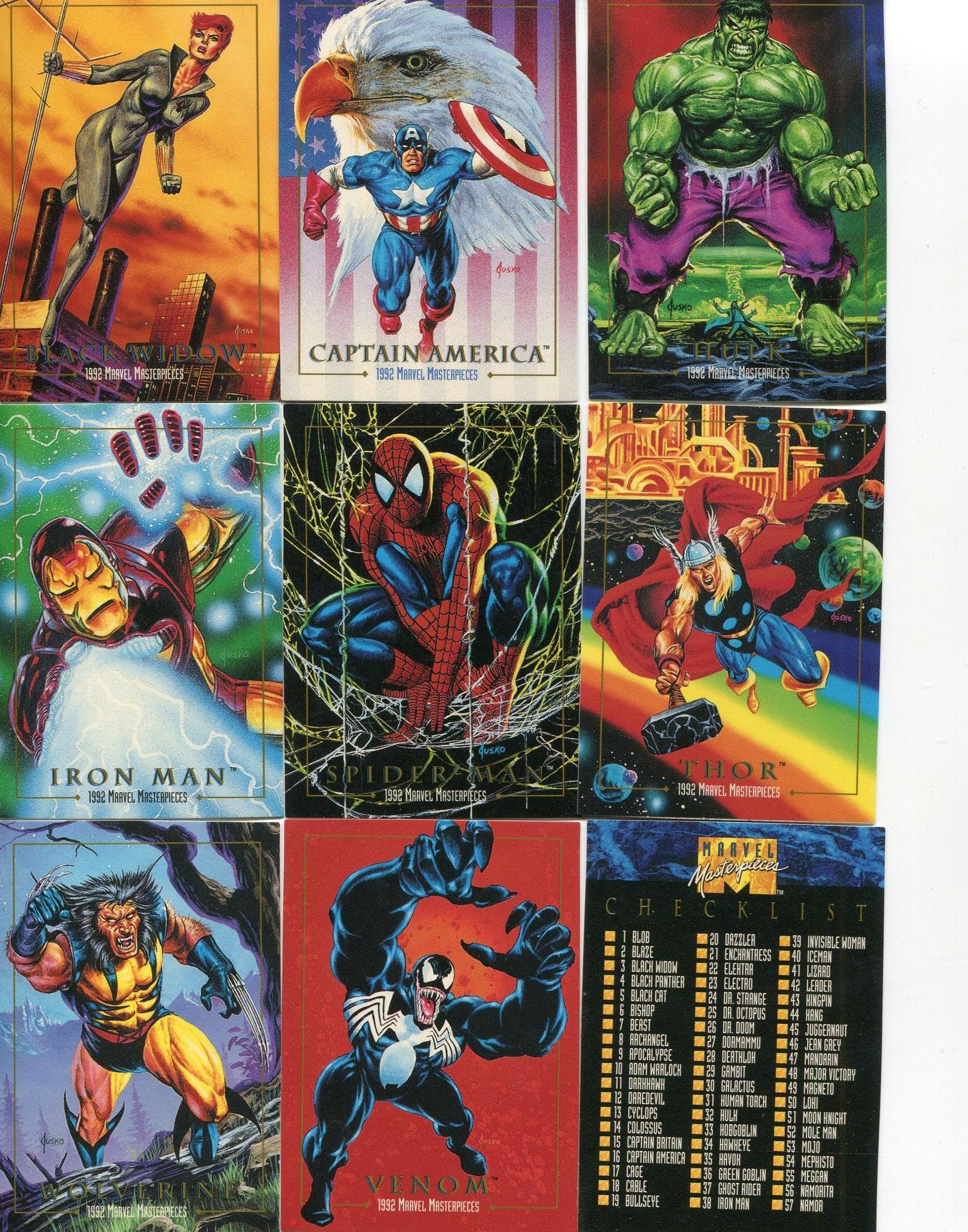 46bdf9bcb64 Skybox 1992 Marvel Masterpieces Series 1 Complete 100 Card Set ...