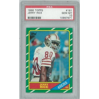 1986 Topps Football #161 Jerry Rice Rookie PSA 10 (GEM MINT) *7671