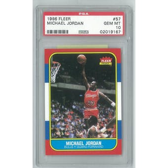 1986/87 Fleer Basketball #57 Michael Jordan Rookie PSA 10 (GEM MINT) *9167