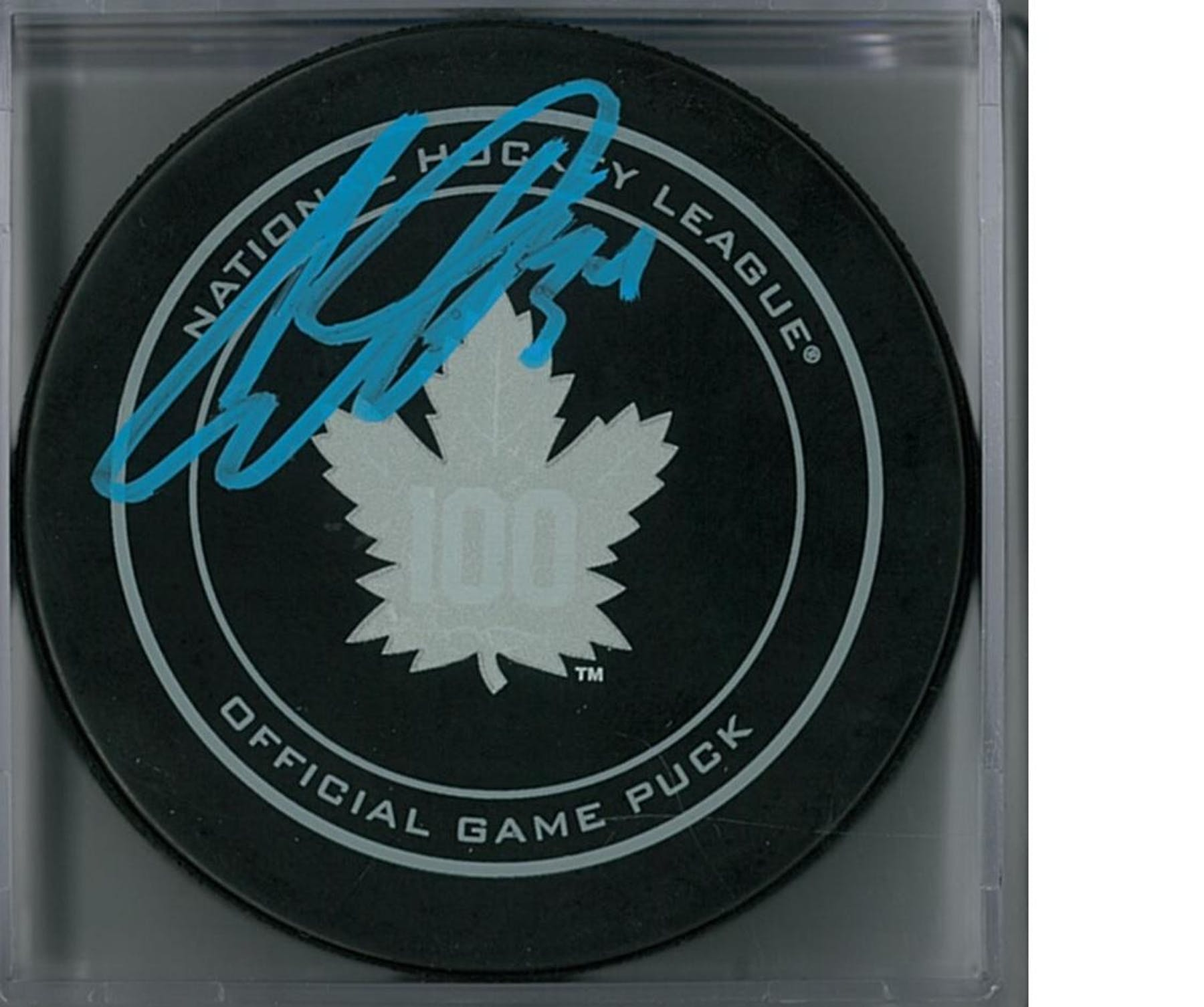 online store a16aa e7da1 Auston Matthews Autographed Toronto Maple Leafs Official Puck (Fanatics COA)