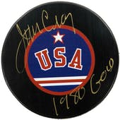 Jim Craig Autographed USA Hockey Miracle on Ice Puck 1980 Gold (DACW COA)
