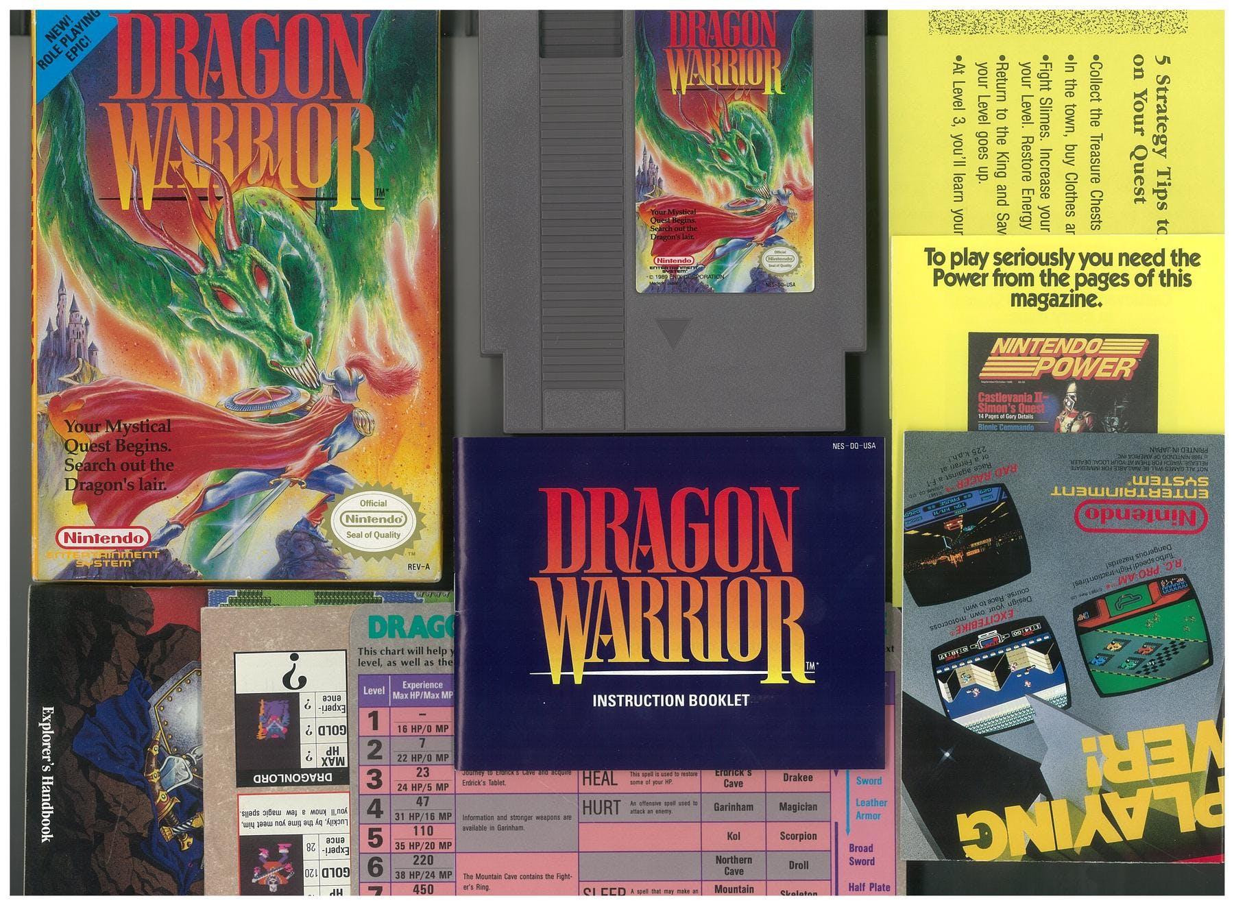 Nintendo Nes Dragon Warrior Boxed Complete With Maps Da Card