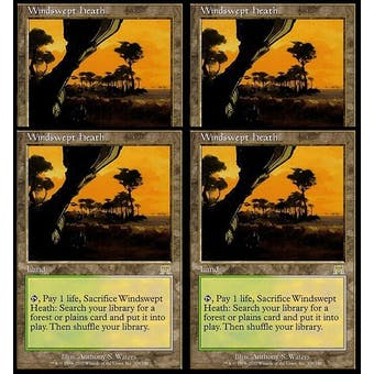 Magic the Gathering Onslaught 4x PLAYSET Windswept Heath - SLIGHT PLAY (SP)
