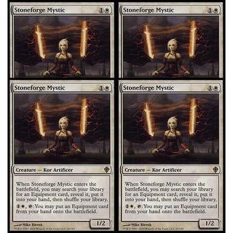 Magic the Gathering Worldwake PLAYSET Stoneforge Mystic - 4x NEAR MINT/SLIGHT PLAY (NM/SP)