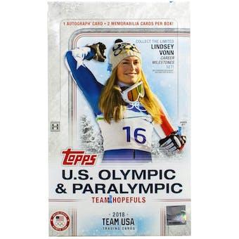 2018 Topps U.S. Winter Olympic & Paralympic Team Hobby Box