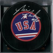 Bill Baker Autographed USA Hockey Puck Miracle on Ice (DACW COA)