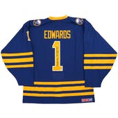 Don Edwards Autographed Buffalo Sabres Blue Throwback Jersey