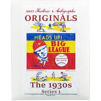 2017 Historic Autograph  Originals The 1930's Series 1 Baseball Hobby Box