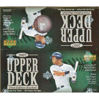 2007 Upper Deck 1st Edition Baseball 36 Pack Box