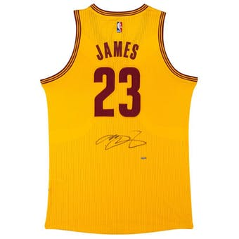 LeBron James Autographed Cleveland Cavaliers Yellow Basketball Jersey UDA