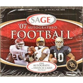 2007 Sage Autographed Football Hobby Box
