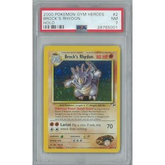 Pokemon Gym Heroes Brock's Rhydon 2/132 PSA 7