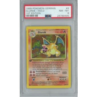 Pokemon Base Set 1st Edition GERMAN Charizard Glurak 4/102 PSA 8