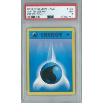 Pokemon Base Set 1st Edition Shadowless Water Energy 102/102 PSA 7