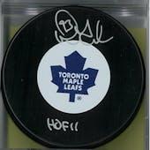 Doug Gilmour Autographed Toronto Maple Leafs Hockey Puck (AJSW COA)