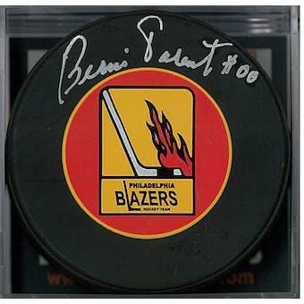 Bernie Parent Autographed Philadelphia Blazers Hockey Puck (DACW COA)
