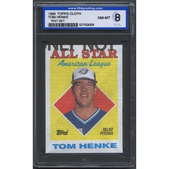 1988 Topps Cloth Baseball Tom Henke ISA 8 (NM-MT) *3059 (Test Set)