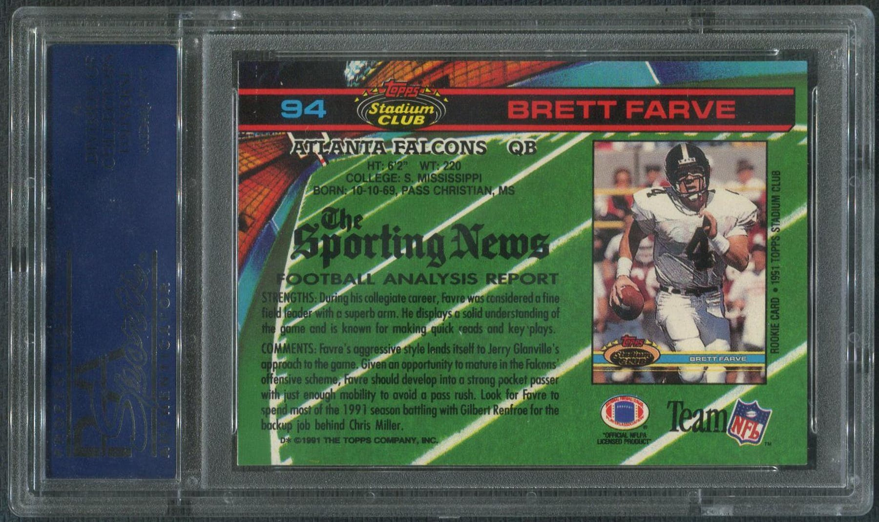 1991 Topps Stadium Club Football 94 Brett Favre Rookie PSA 10 GEM MT