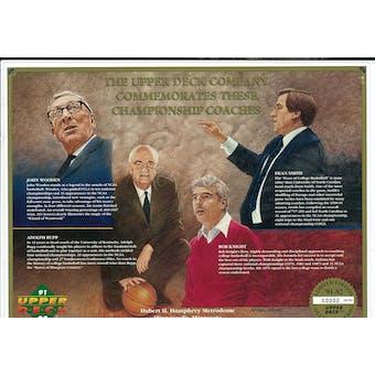 1991/92 Upper Deck Commemorative Basketball Coaches Sheet Knight/Wooden/Rupp/Smith