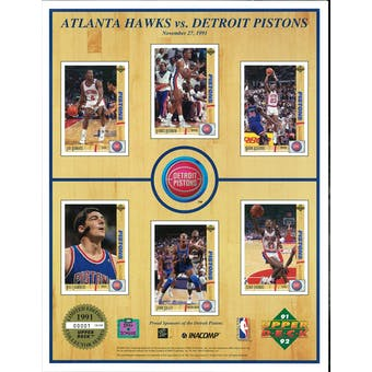 1991/92 Upper Deck Commemorative Detroit Pistons Sheet Rodman/Thomas/Dumars