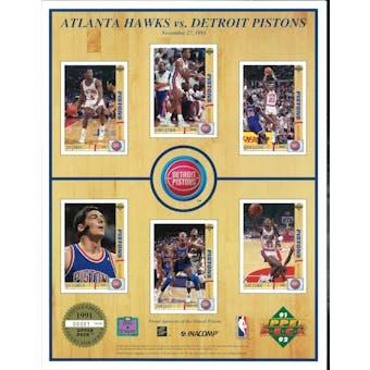 1991/92 Upper Deck Commemorative Detroit Pistons Sheet Rodman/Thomas/Dumars