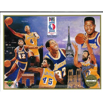 1991 Upper Deck Lakers in Paris Commemorative Sheet Johnson/Scott/Worthy
