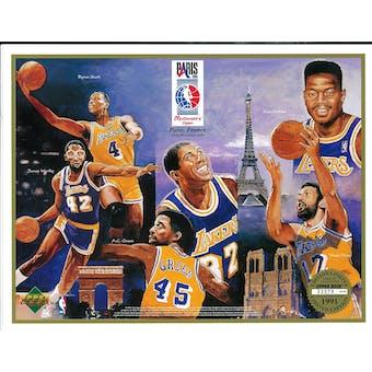 1991 Upper Deck Lakers in Paris Commemorative Sheet Johnson/Scott/Worthy