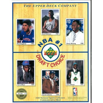 """1991 12th Annual National Sports Collectors Commemorative Sheet """"NBA 1st Draft Choice"""""""