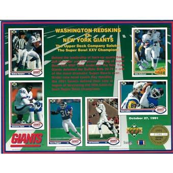 1991 Upper Deck New York Giants Super Bowl XXV Commemorative Sheet