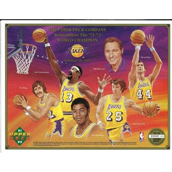 """1991/92 Upper Deck Commemorative Sheet """"UD Remembers the 71/72 World Champion"""" Lakers"""
