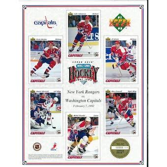 1991/92 Upper Deck Washington Capitals Commemorative Sheet Iafrate/Hatcher/Ciccarelli
