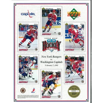 1991/92 Upper Deck Washington Capitals Commemorative Sheet Iafrate/Hatcher/Ciccarelli