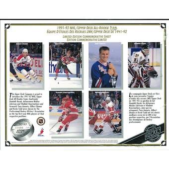 1991/92 Upper Deck All-Rookie Team Commemorative Sheet Hasek/Lidstrom/Amonte