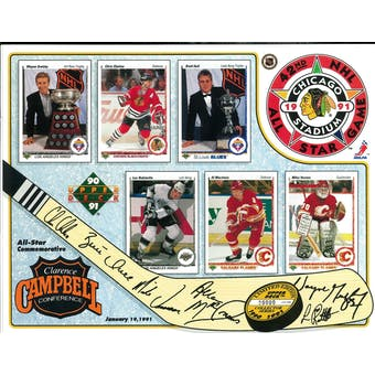 1991 Upper Deck NHL All-Star Game Commemorative Sheet Gretzky/Chelios/Hull 1 of 2