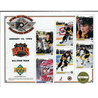 1992 Upper Deck NHL All Star Game Commemorative Sheet Prince Of Wales Conference