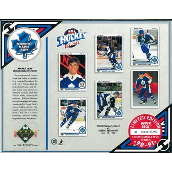 1990/91 Upper Deck Toronto Maple Leafs Commemorative Sheet Clark/Iafrate/Damphousse