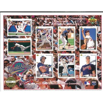 1992 Upper Deck Atlanta Braves Back-to-Back NL Champions Commemorative Sheet