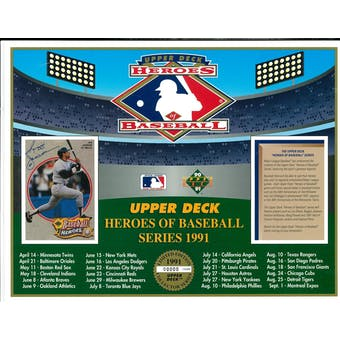 1991 Upper Deck Heroes Of Baseball Series Calendar Commemorative Sheet Reggie Jackson